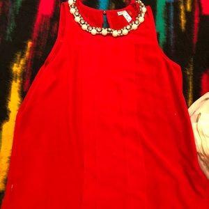 Tops - Red Satin Top w. Pearl Neckline Sz S